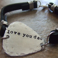 Personalized Handstamped Guitar Pick Leather Bracelet  for Fathers Men Dads