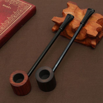 Ebony wood pipe Smoking Pipes Portable Smoking Pipe Herb Tobacco Pipes Grinder Smoke Gifts Black/Coffee 2 Colors