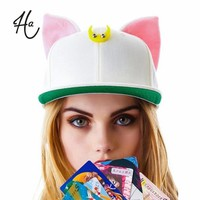 Kitten Model Canvas Hip Hop Cap Flat Brim Hat Snap Back Baseball Caps For Woman Man