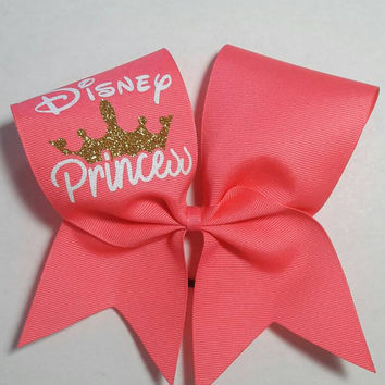 Disney Princess  Bow- 3 Inch Texas Size - Cheer Party - Theme Practice - Birthday Gift - Ponytail Accessory