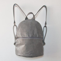Women Backpack Purse, Grey Soft Leather Backpack, Everyday Back Pack, Simple Backpack, Minimalist Rucksack Purse, Leather Backpack Purse