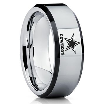 Tungsten Carbide Ring - NFL Ring - Dallas Cowboys Ring - Tungsten Wedding Band