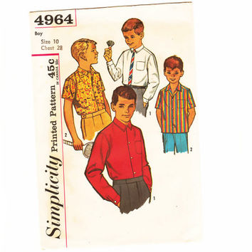 Unused Vintage 60s Boys Shirt Sewing Pattern Narrow Button Down Collar Shirt Pattern Uncut Chest 28 size 10 Simplicity 4964