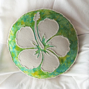Hibiscus flower applique on green and turquoise tie dye batik and natural denim boho round pillow