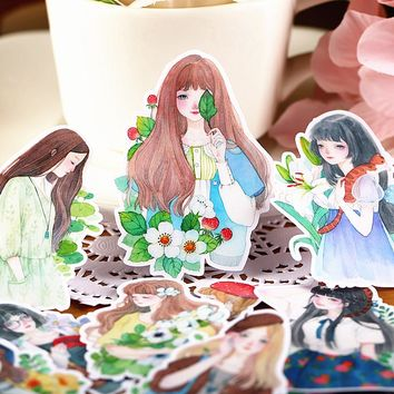 15pcs Self-made Mori Girl Sketch Lady Scrapbooking Stickers Decorative Sticker DIY Craft Photo Albums Decals Diary Deco