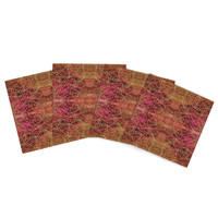 "Nikposium ""Summer"" Red Orange Indoor/Outdoor Place Mat (Set of 4)"