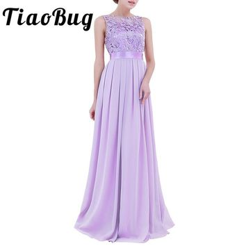 TiaoBug 8 Colors Women Ladies Embroidered Chiffon Bridesmaid Dress Long Floor Length Prom Party Gown Maxi Summer Tulle Dress