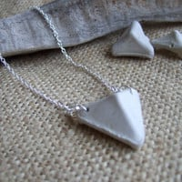 Modernist necklace - Scottish sea pottery kiln stilt in triangle shape on sterling silver necklace 22'' - sea pottery over 100 years old