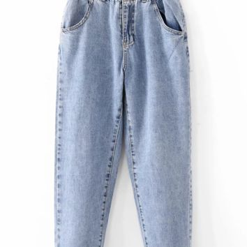 New hot - selling bud elastic waist jeans nine - cent trousers