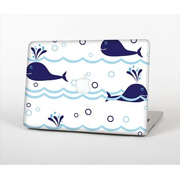 The Navy Blue Smiley Whales Skin Set for the Apple MacBook Air 11""
