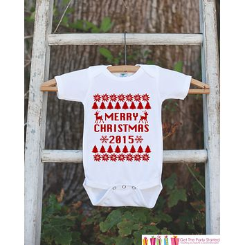 Merry Christmas Outfit - 2015 Christmas Onepiece - Baby Holiday Christmas Ugly Sweater Party - Newborn Christmas Bodysuit for Boy or Girl