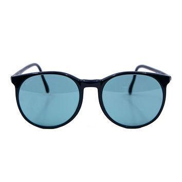 Vintage Ray Ban Bausch and Lomb Round Style C Black Blue Sunglasses.