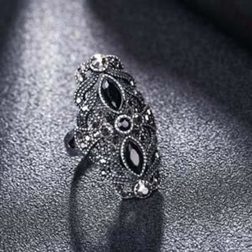 Antique Silver Black Multi Stones Gems Ring