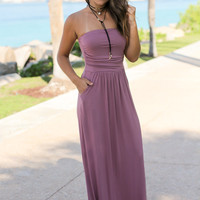 Strapless Mauve Maxi Dress with Pockets