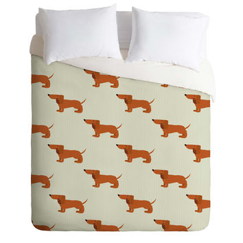 Nicole Martinez Dachshunds Tooth Duvet Cover
