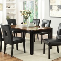 7 pc Timothy collection black and walnut finish wood top dining table set with leather like vinyl upholstered chairs