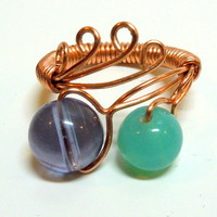 Handmade Adjustable Copper Wire Wrapped Flower Ring, Purple and Blue Glass Bead