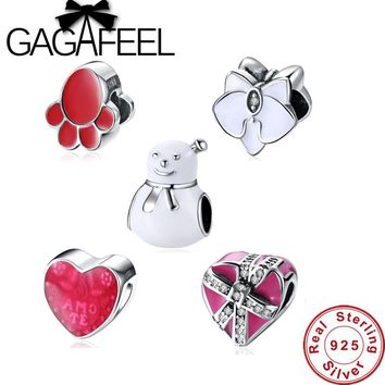 GAGAFEEL Original 925 Sterling Silver Heart Shape Snowman Feet Beads Fit Charms Bracelet Jewelry Valentine's Mother's Day's Gift