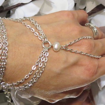 Silver Pearl Hand Chain, Slave Bracelet, Ring Bracelet, Hand Jewelry, Pearl Bracelet, Adjustable, Custom, Sized, Hand Jewelry, Chain