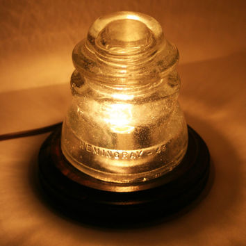Fizzy Clear HEMINGRAY 45 Insulator Night Light ~ Upcycle Desk Lamp, Antique Accent Light
