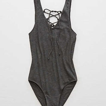 Aerie Real Soft® Lace-Up Bodysuit, Charcoal Heather