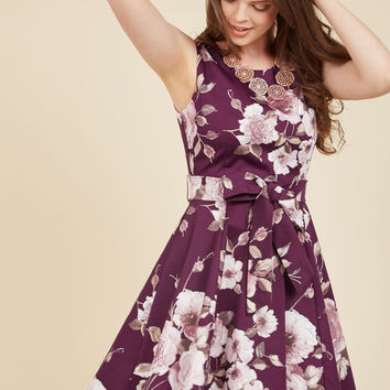 Girl Meets Twirl A-Line Dress in Burgundy Blossom | Mod Retro Vintage Dresses | ModCloth.com