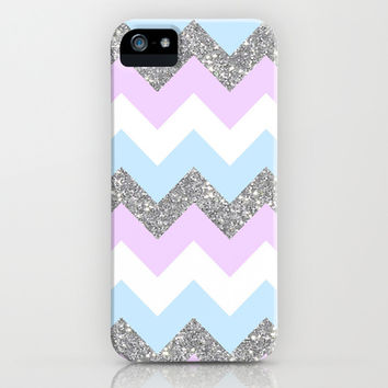 purple & teal glitter chevron iPhone & iPod Case by Hannah