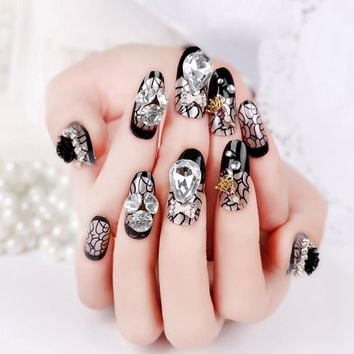FALSE NAILS FULL COVER STILE Nail Suppliers Tips Large Stone Black False Nail Tips Witch Lace Gold Crown Nail Decoraton Z117
