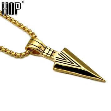 HIP Punk Gold Color Titanium Stainless Steel Spearhead Arrowhead Pendants Necklaces for Men Special Surf Bike Jewelry