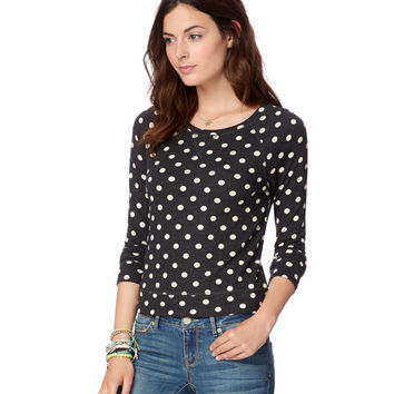 Map to Mars Womens Map To Mars Long Sleeve Polka Dot T-Shirt - Black,