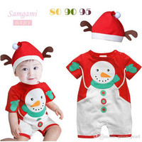 Christmas Baby Clothing High Quliaty Embroidery Baby Christmas Romper With Cpas 0-24M Toddler Infant Jumpsuits 6pcs/lot