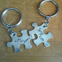 Hand Stamped Keychain - Personalized Keychain Couples Puzzle Piece Keychains with Names