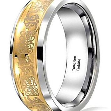 CERTIFIED 9mm Bling Jewelry Celtic Dragon Tungsten Concave Wedding Ring