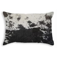 "12"" x 20"" Black and White Cowhide Pillow"