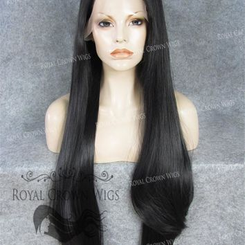 """30"""" Heat Safe Synthetic Straight Lace Front """"Hera"""" in Darkest Brown/Off Black"""
