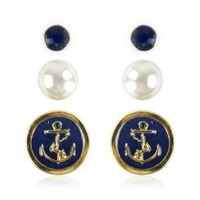 Navy Elements Earrings Set