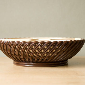 Serving dish devided from the '70s, brown and beige plastic by Emsa