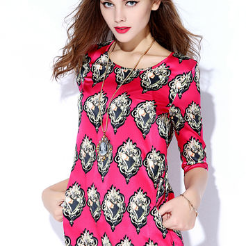 Fuchsia Patterned Sleeve Mini Dress