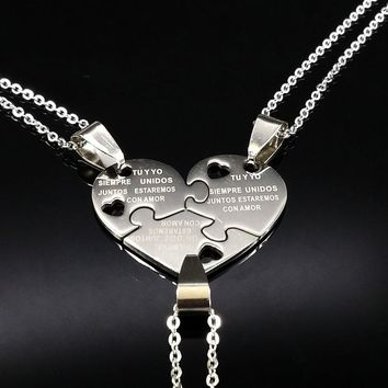 Best Friends Stainless Steel Pendant Necklaces 3Pcs Friendship Plated Silver Color Choker Necklace Women Girls Jewelry N61281B