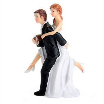 Romantic Bride and Groom Wedding Couple Figurine Football Athletic Romance Action Figure Decoration   Model Toys about 14cm