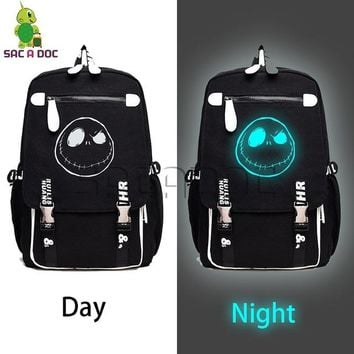 University College Backpack Anime The Nightmare Before Christmas Jack Luminous   Students  Travel Bag Women Men Laptop AT_63_4