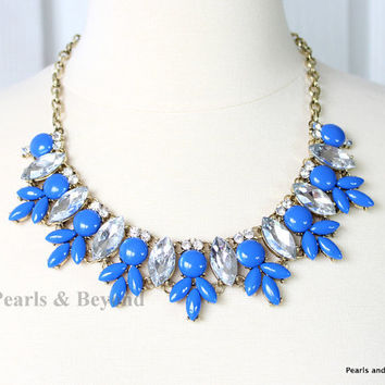 J. Crew Inspired Crystal Statement Necklace by PearlsandBeyond
