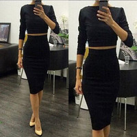 New Black Sexy Women Summer 2 piece Set Clubwear Office Party Bodycon Bandage Dress [7863573127]