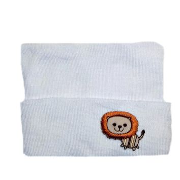 White Baby Hospital Hat with Lion Applique
