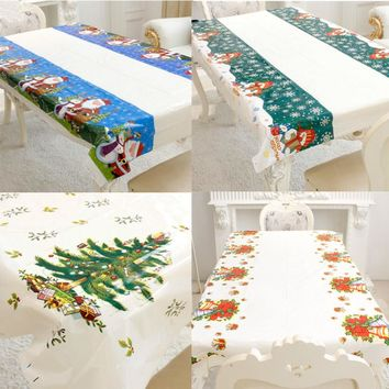 Christmas Decoration for Home PVC Tablecloth Rectangular Party Table Covers Kitchen Dinner Table New Year Decoration Ornaments