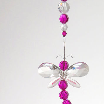 Valentines Day Gift Pink Dragonfly Xmas Tree Ornament Teacher Gift Rear View Mirror Charm Crystal Suncatcher Whimsical Decor Car Accessories