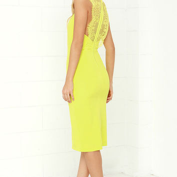 Ready Set Chartreuse Lace Midi Dress
