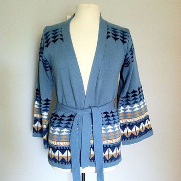 Vintage belted cardigan / 1970s wrap sweater / vintage hippie sweater