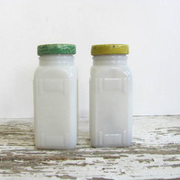 Pair of Vintage White Milk Glass spice jars