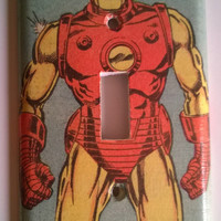 Comic Book superhero light switch cover Iron Man